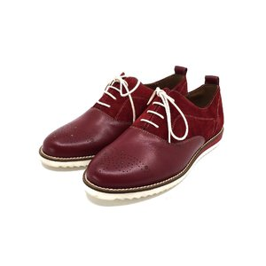 Pantofi dama casual din piele naturala - 230  Visiniu Box Velur