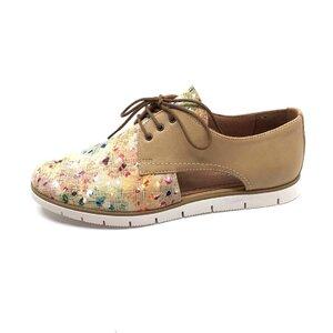 Pantofi casual dama, perforati din piele naturala, Leofex - 022 Taupe Mozaic