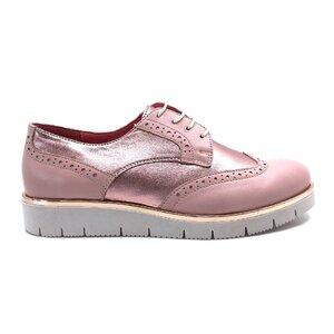Pantofi dama casual din piele naturala, Leofex - 173 Alb + roz box sidef