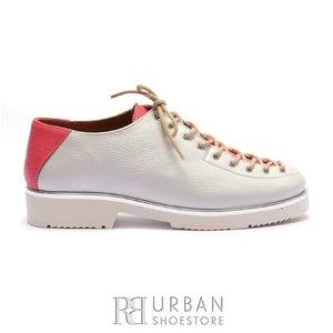 Pantofi casual dama cu siret pana in varf din piele naturala,Leofex- 194-1 Alb Roz Box