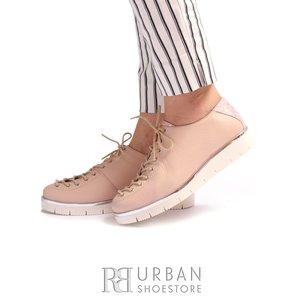 Pantofi dama cu siret pana in varf Leofex- 194-1 Roz Flori Sidefat Presat
