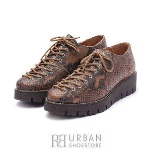 Pantofi dama cu siret pana in varf Leofex- 194 Maro Box Sarpe