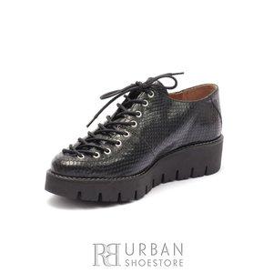 Pantofi dama cu siret pana in varf Leofex- 194 Negru Box Sarpe