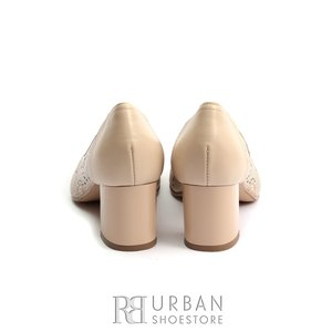 Pantofi dama din piele naturala cu perforatii - 0498-2 Bej Box