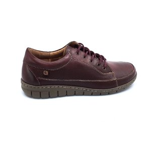 Pantofi dama sport din piele naturala Leofex - 092 visiniu inchis box