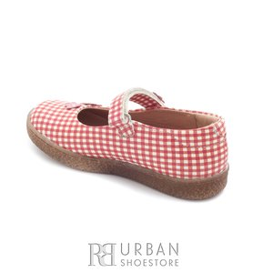 Pantofi din piele naturala – 129-1 rosu patratele albe