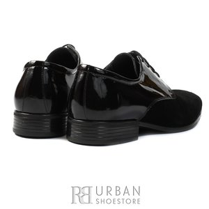 Pantofi eleganti barbati din piele naturala,Leofex - 692 negru lac+velur
