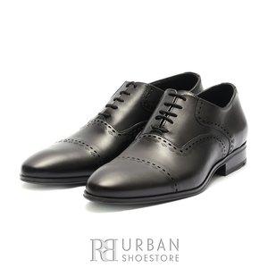 Pantofi eleganti barbati, Oxford din piele naturala, Leofex - 748 Negru box