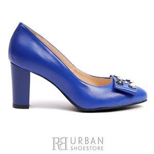 Pantofi eleganti dama cu varf ascutit din piele naturala - 0389-1 Albastru Box