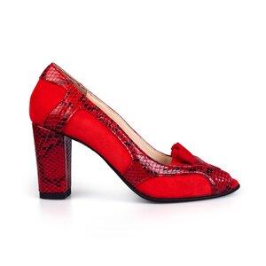 Pantofi eleganti dama,decupati din piele naturala - 2043 rosu velur+box