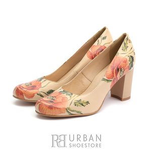 Pantofi eleganti dama din piele naturala   - 0375 Bej Flori Box
