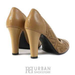 Pantofi eleganti dama din piele naturala  - 0642-1 crem