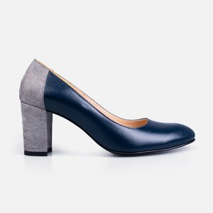 Pantofi  eleganti dama din piele naturala - 174 Blue + gri box sidef