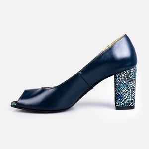 Pantofi  eleganti dama din piele naturala - 176 Blue box print