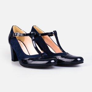 Pantofi  eleganti dama din piele naturala - 181 blue lac velur