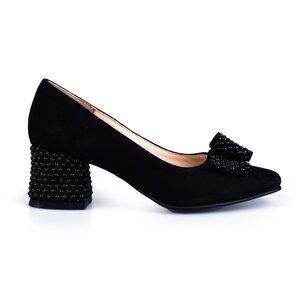 Pantofi eleganti  dama din piele naturala - 1906 negru velur