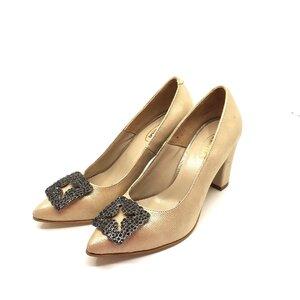 Pantofi eleganti dama din piele naturala  - 1920 Auriu Box