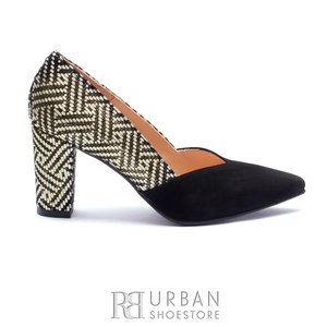Pantofi eleganti dama din piele naturala  - 1933 Negru Mozaic Velur
