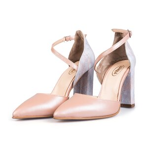 Pantofi eleganti dama, din piele naturala - 1984 Nude box sidef