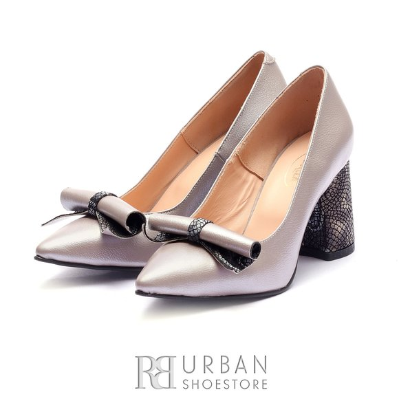 Pantofi eleganti dama din piele naturala - 1989 Taupe metalizat box