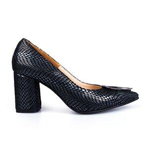 Pantofi eleganti dama din piele naturala - 2024 Negru velur + croco