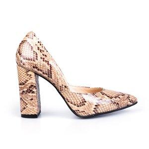 Pantofi eleganti dama din piele naturala - 2028 bej box + sarpe
