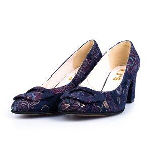 Pantofi eleganti dama din piele naturala  - 450-3 blue flori