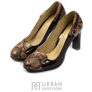 Pantofi eleganti dama din piele naturala - 516-1 maro sarpe lac