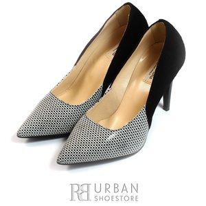 Pantofi eleganti dama din piele naturala - 597 negru-pepit lac velur