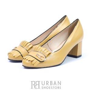 Pantofi eleganti dama din piele naturala  cu franjuri- 0498-6 Galben
