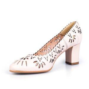 Pantofi eleganti dama perforati din piele naturala - 450 nude box perforat