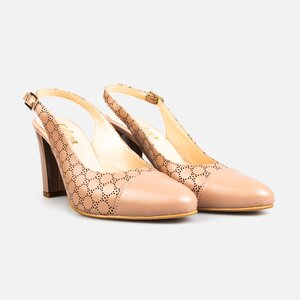 Pantofi  eleganti  decupati dama din piele naturala  - 175 cappuccino box perforat