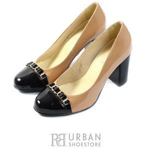 Pantofi eleganti din lac - 010-1 crem cu negru