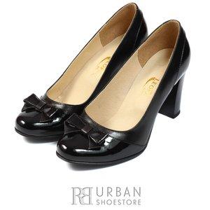 Pantofi eleganti din piele box si lac - 565 negru