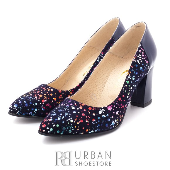 Pantofi eleganti din piele intoarsa - 786-33 blue