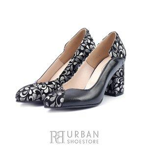Pantofi eleganti din piele naturala - 1803 Negru - Argintiu Box cu Velur