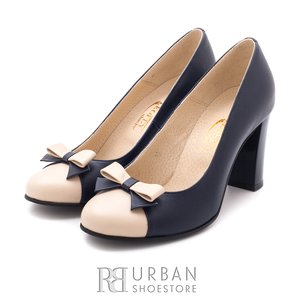 Pantofi eleganti din piele naturala - 556 blue-bej