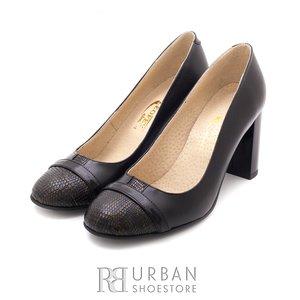 Pantofi eleganti din piele naturala - 784-22 negru