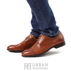 Pantofi eleganti din piele naturala 932 cognac box