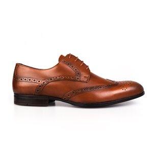 Pantofi eleganti din piele naturala Leofex-516 Cognac Box