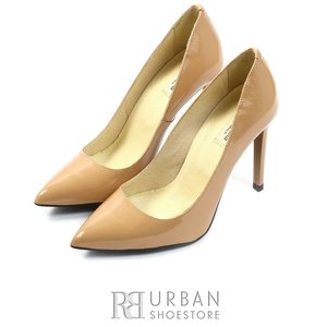 Pantofi eleganti stiletto din piele lacuita - 892-3 nude lac