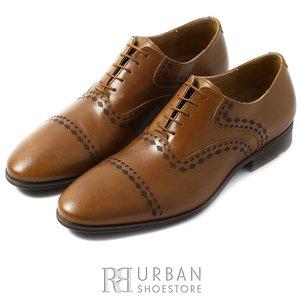 Pantofi eleganti barbati, Oxford din piele naturala, Leofex - 748 cognac