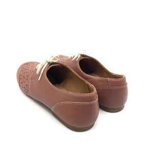 Pantofi perforati din piele naturala- Mostra 272 Plamaniu