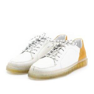 Pantofi sport barbati din piele naturala Leofex -882 Alb Mustar Box