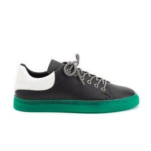 Pantofi sport barbati din piele naturala, Leofex - 882 Negru cu Alb Box