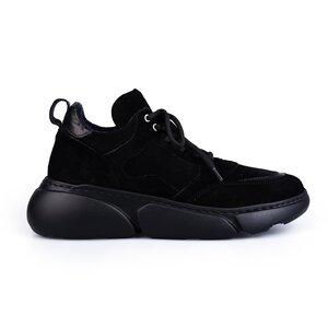 Pantofi sport dama din piele naturala, Leofex- 239 Negru velur