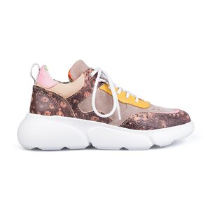 Pantofi sport dama din piele naturala, Leofex- 239 Roz + taupe + galben box