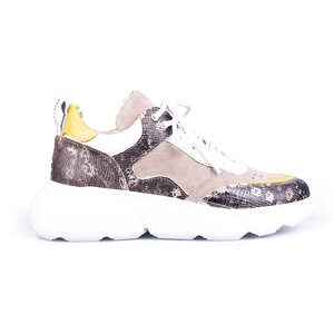 Pantofi sport dama din piele naturala, Leofex- 239  Taupe + bej box