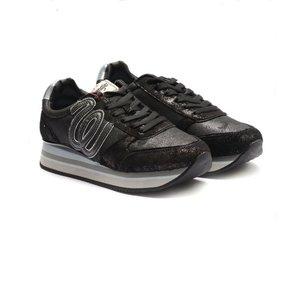 Pantofi sport dama din piele naturala si piele ecologica Wrangler-182630 negru sclipici