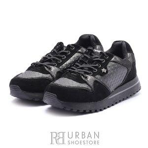 Pantofi sport dama din piele naturala si piele ecologica Wrangler-182641 Negru Gri Metalizat